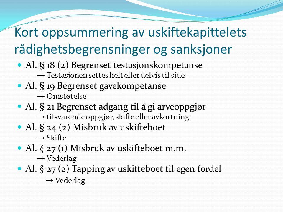 Kort oppsummering av uskiftekapittelets rådighetsbegrensninger og sanksjoner Al. § 18 (2) Begrenset testasjonskompetanse → Testasjonen settes helt ell