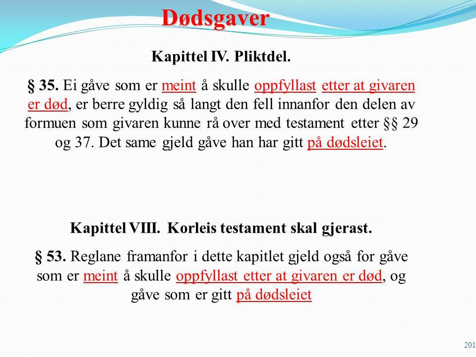 201 Kapittel IV. Pliktdel. § 35. Ei gåve som er meint å skulle oppfyllast etter at givaren er død, er berre gyldig så langt den fell innanfor den dele