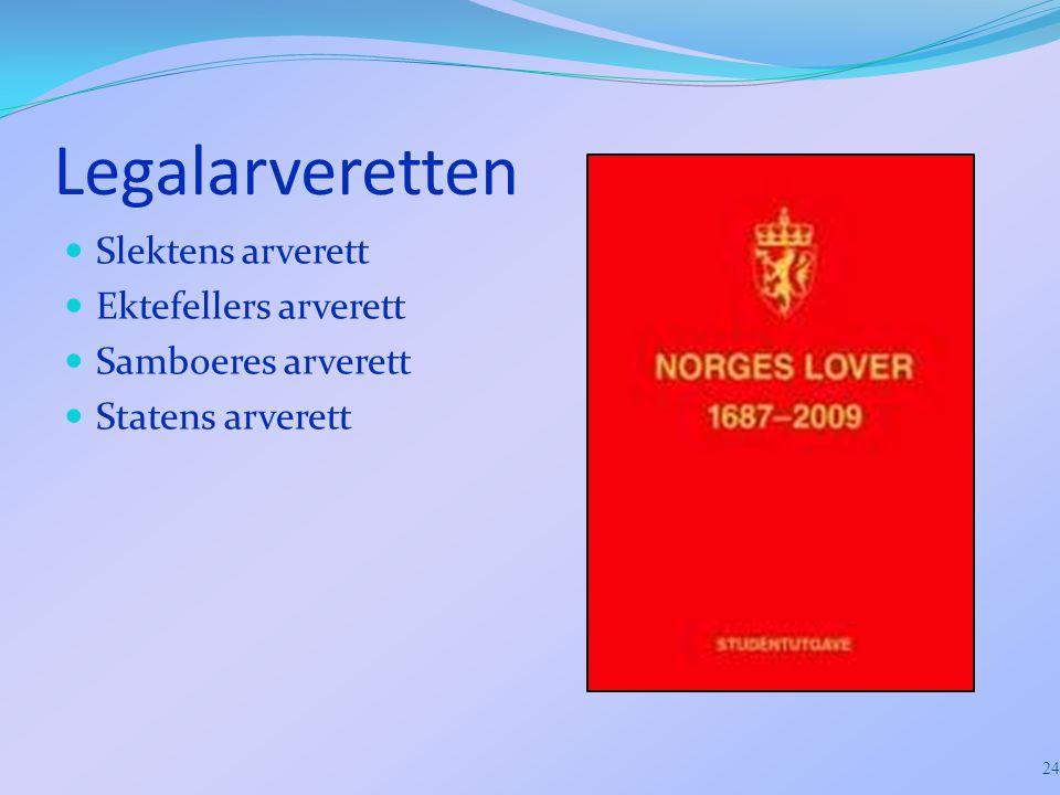 Legalarveretten Slektens arverett Ektefellers arverett Samboeres arverett Statens arverett 24