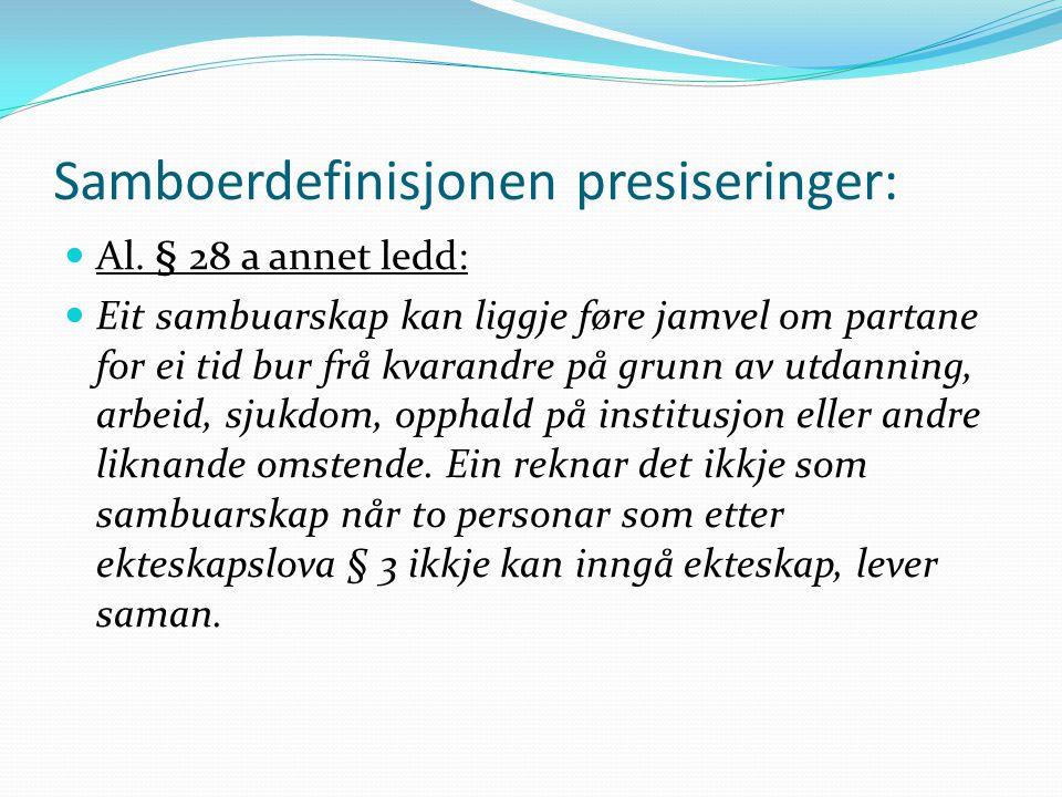 Samboerdefinisjonen presiseringer: Al. § 28 a annet ledd: Eit sambuarskap kan liggje føre jamvel om partane for ei tid bur frå kvarandre på grunn av u