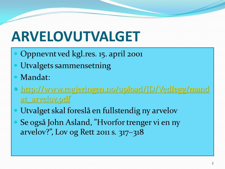 ARVELOVUTVALGET Oppnevnt ved kgl.res. 15. april 2001 Utvalgets sammensetning Mandat: http://www.regjeringen.no/upload/JD/Vedlegg/mand at_arvelov.pdf h