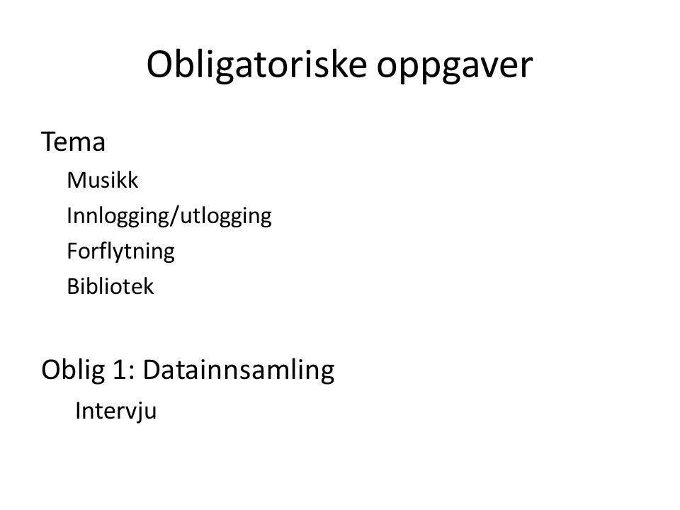 Obligatoriske oppgaver Tema Musikk Innlogging/utlogging Forflytning Bibliotek Oblig 1: Datainnsamling Intervju