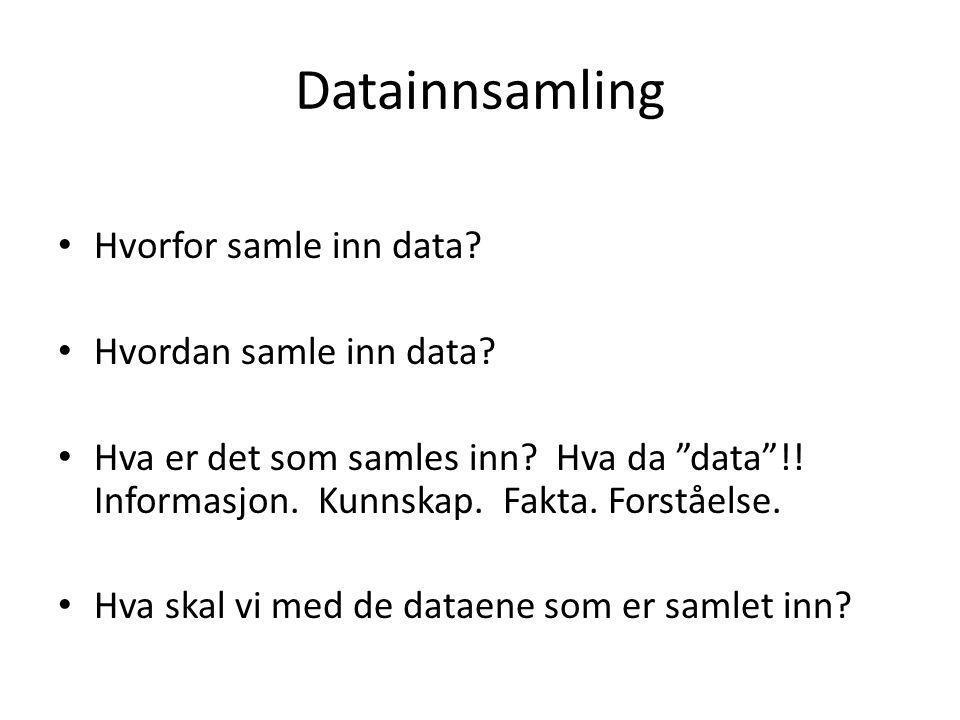 """Datainnsamling Hvorfor samle inn data? Hvordan samle inn data? Hva er det som samles inn? Hva da """"data""""!! Informasjon. Kunnskap. Fakta. Forståelse. Hv"""
