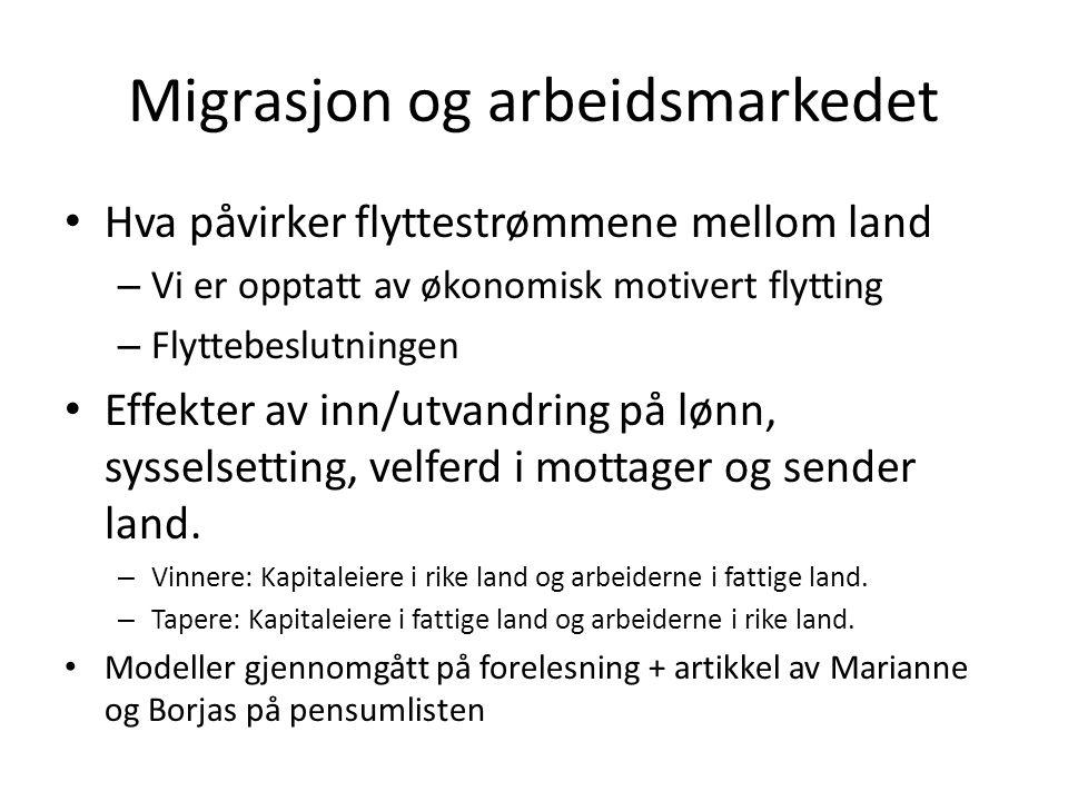 Migrasjon og arbeidsmarkedet Hva påvirker flyttestrømmene mellom land – Vi er opptatt av økonomisk motivert flytting – Flyttebeslutningen Effekter av
