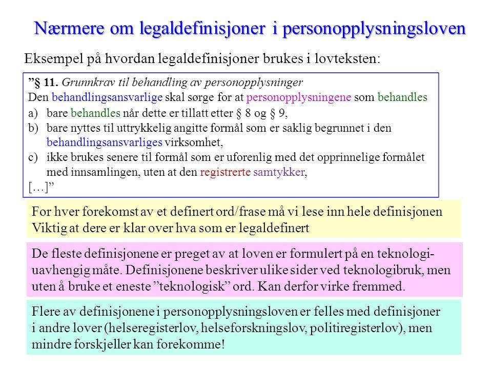 """Nærmere om legaldefinisjoner i personopplysningsloven Eksempel på hvordan legaldefinisjoner brukes i lovteksten: """"§ 11. Grunnkrav til behandling av pe"""