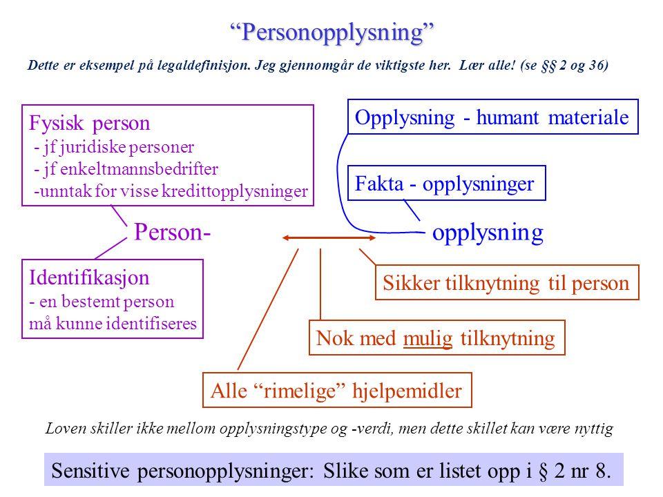 """""""Personopplysning"""" Person-opplysning Identifikasjon - en bestemt person må kunne identifiseres Fysisk person - jf juridiske personer - jf enkeltmannsb"""