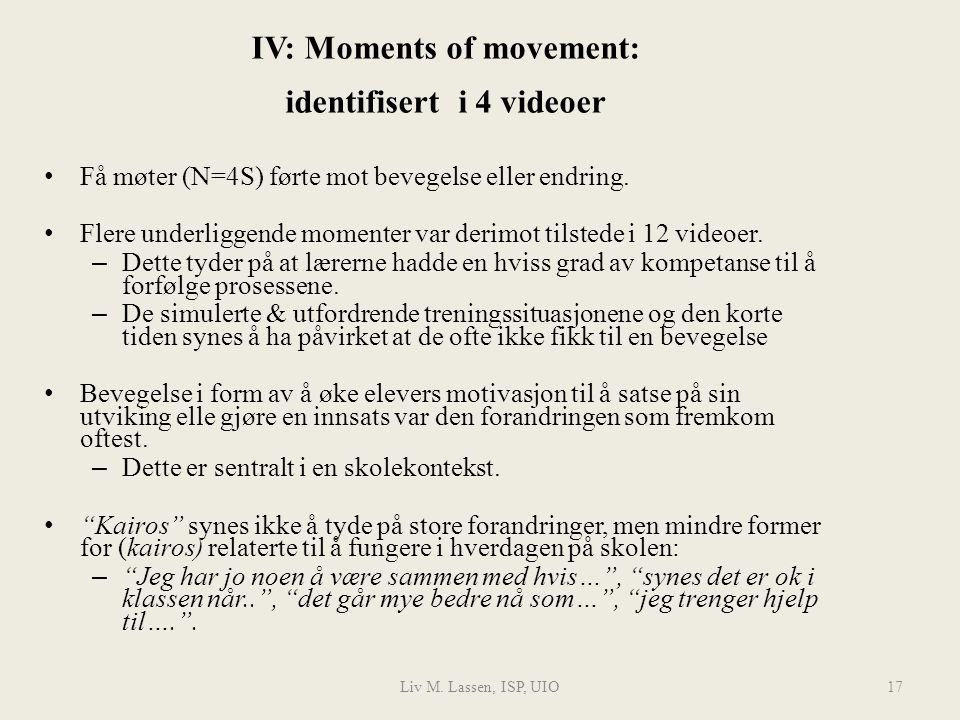 Liv M. Lassen, ISP, UIO17 IV: Moments of movement: identifisert i 4 videoer Få møter (N=4S) førte mot bevegelse eller endring. Flere underliggende mom