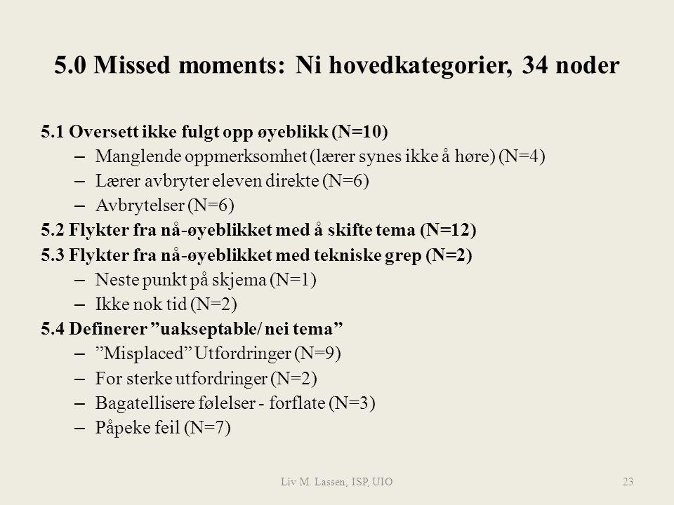Liv M. Lassen, ISP, UIO23 5.0 Missed moments: Ni hovedkategorier, 34 noder 5.1 Oversett ikke fulgt opp øyeblikk (N=10) – Manglende oppmerksomhet (lære