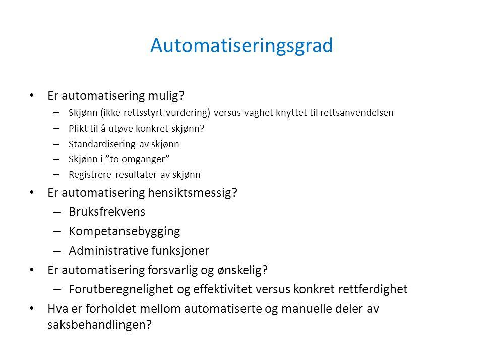 Automatiseringsgrad Er automatisering mulig? – Skjønn (ikke rettsstyrt vurdering) versus vaghet knyttet til rettsanvendelsen – Plikt til å utøve konkr