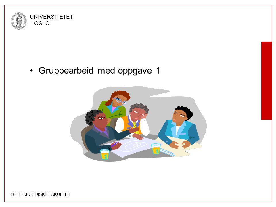 © DET JURIDISKE FAKULTET UNIVERSITETET I OSLO Gruppearbeid med oppgave 1