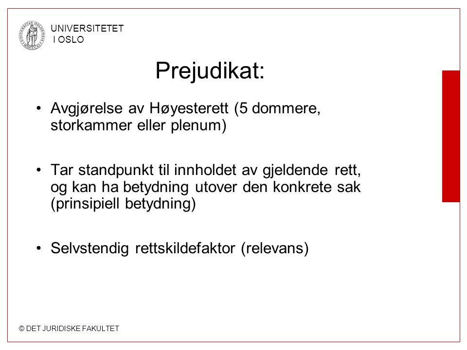 © DET JURIDISKE FAKULTET UNIVERSITETET I OSLO Prejudikat: Avgjørelse av Høyesterett (5 dommere, storkammer eller plenum) Tar standpunkt til innholdet