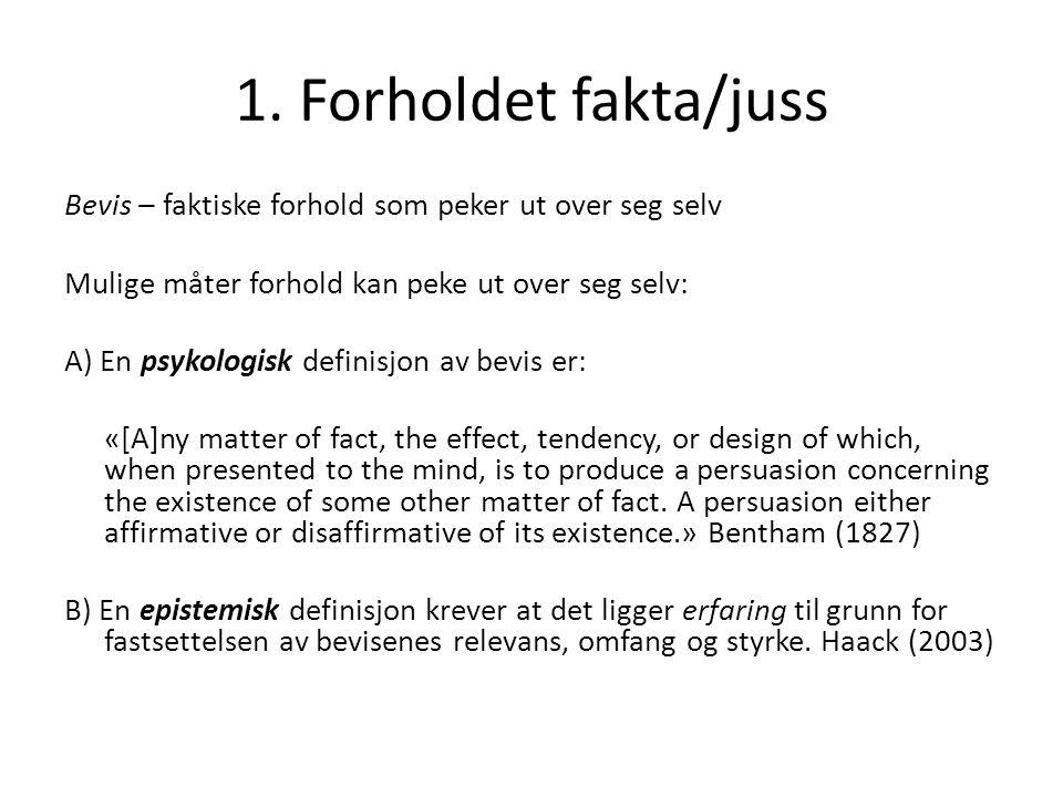 1. Forholdet fakta/juss Bevis – faktiske forhold som peker ut over seg selv Mulige måter forhold kan peke ut over seg selv: A) En psykologisk definisj