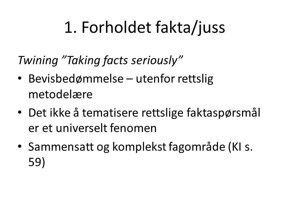 """1. Forholdet fakta/juss Twining """"Taking facts seriously"""" Bevisbedømmelse – utenfor rettslig metodelære Det ikke å tematisere rettslige faktaspørsmål e"""