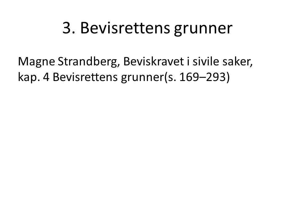 3. Bevisrettens grunner Magne Strandberg, Beviskravet i sivile saker, kap. 4 Bevisrettens grunner(s. 169–293)
