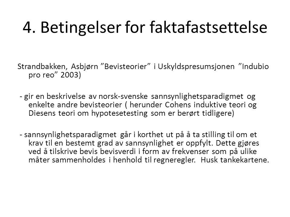 """4. Betingelser for faktafastsettelse Strandbakken, Asbjørn """"Bevisteorier"""" i Uskyldspresumsjonen """"Indubio pro reo"""" 2003) - gir en beskrivelse av norsk-"""