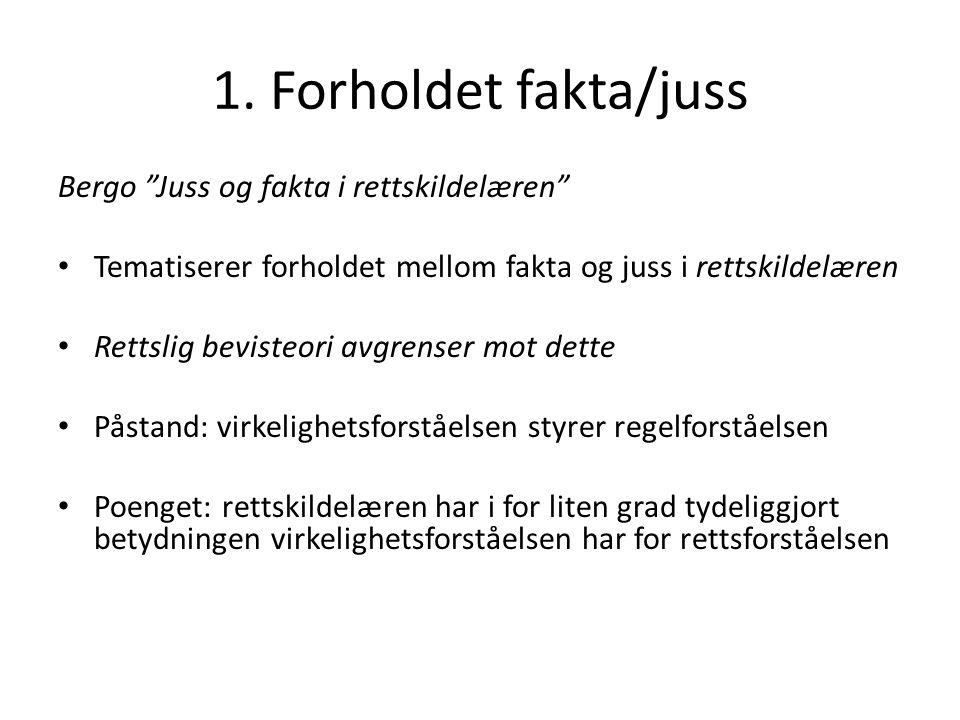1.Forholdet fakta/juss Hjelpemiddel for å avgrense faget: Definer fakta funksjonelt.
