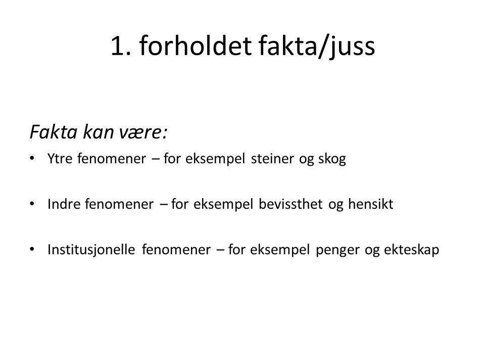 1.Forholdet fakta/juss Nygaard: «Faktum og jus, rettskjeldelære og bevisreglane» (K1 s.