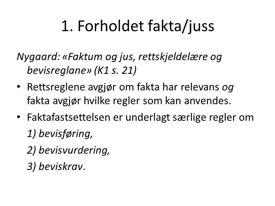1. Forholdet fakta/juss Nygaard: «Faktum og jus, rettskjeldelære og bevisreglane» (K1 s. 21) Rettsreglene avgjør om fakta har relevans og fakta avgjør