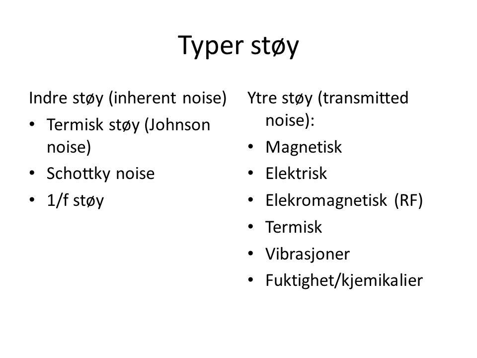 Typer støy Indre støy (inherent noise) Termisk støy (Johnson noise) Schottky noise 1/f støy Ytre støy (transmitted noise): Magnetisk Elektrisk Elekrom