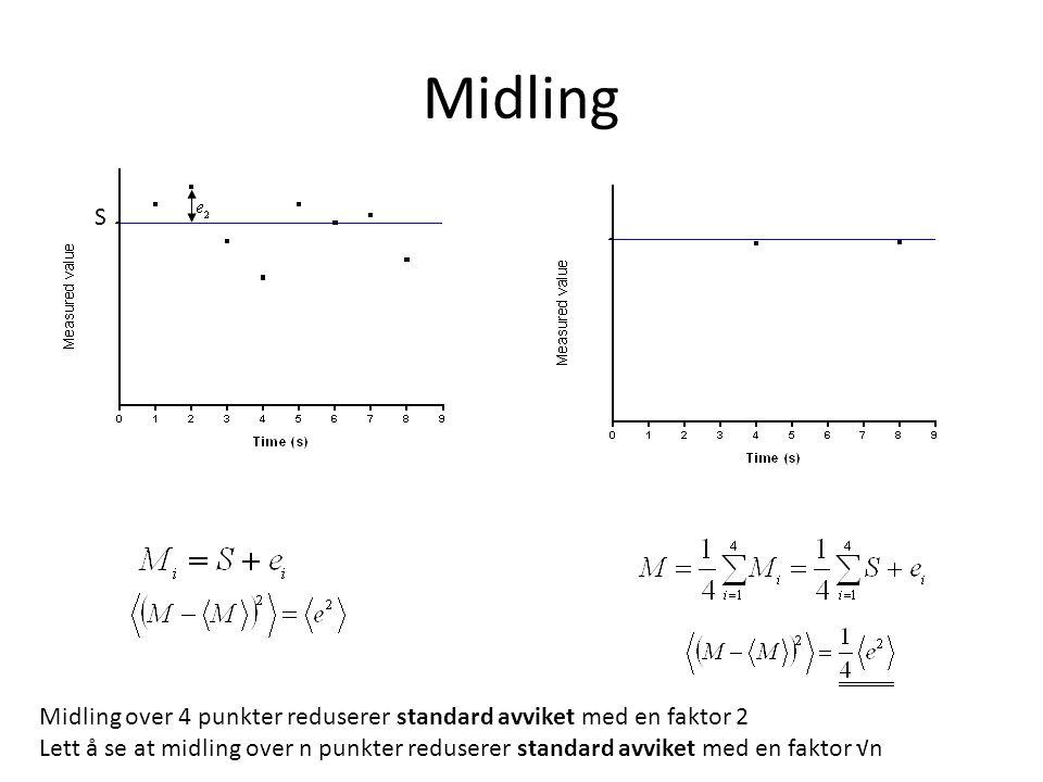 Midling S Midling over 4 punkter reduserer standard avviket med en faktor 2 Lett å se at midling over n punkter reduserer standard avviket med en fakt