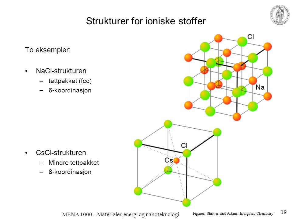 MENA 1000 – Materialer, energi og nanoteknologi Strukturer for ioniske stoffer To eksempler: NaCl-strukturen –tettpakket (fcc) –6-koordinasjon CsCl-st