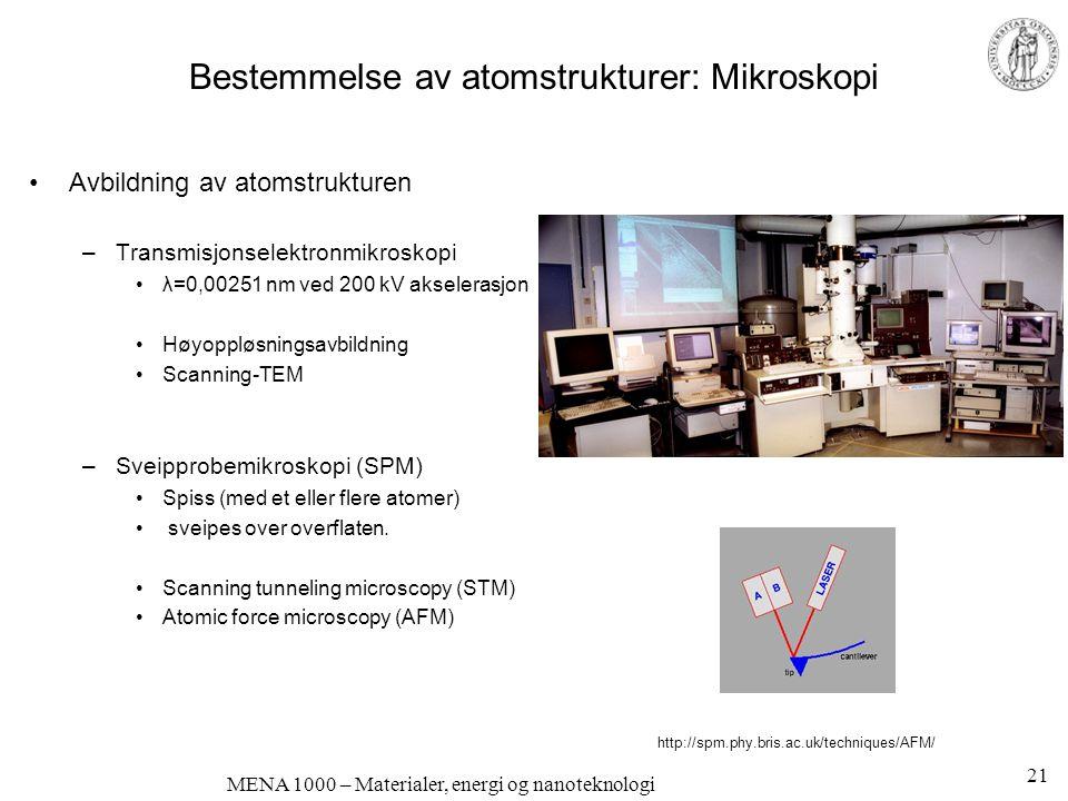 MENA 1000 – Materialer, energi og nanoteknologi Avbildning av atomstrukturen –Transmisjonselektronmikroskopi λ=0,00251 nm ved 200 kV akselerasjon Høyo