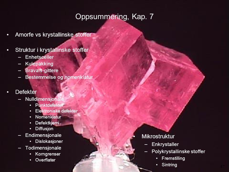MENA 1000 – Materialer, energi og nanoteknologi Oppsummering, Kap. 7 Amorfe vs krystallinske stoffer Struktur i krystallinske stoffer –Enhetsceller –K