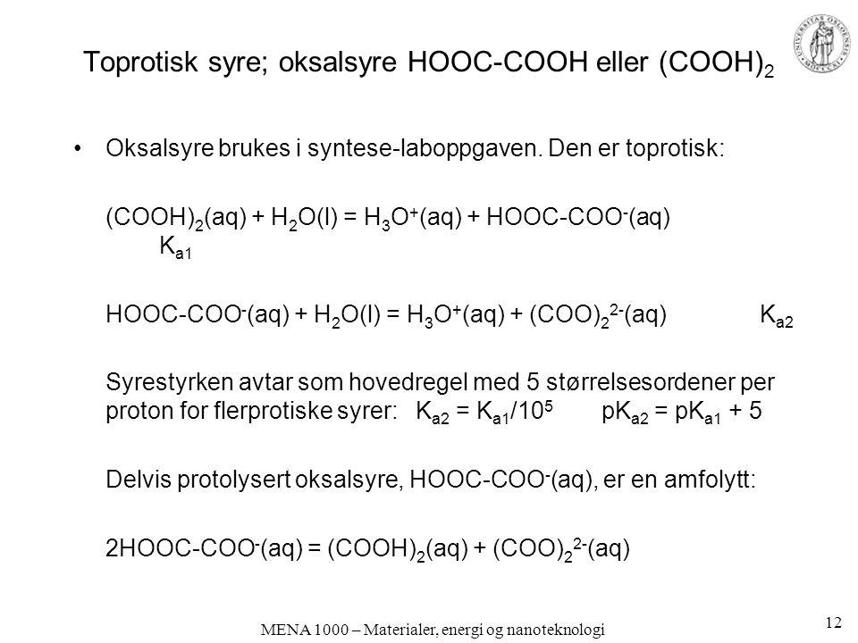 MENA 1000 – Materialer, energi og nanoteknologi Toprotisk syre; oksalsyre HOOC-COOH eller (COOH) 2 Oksalsyre brukes i syntese-laboppgaven.