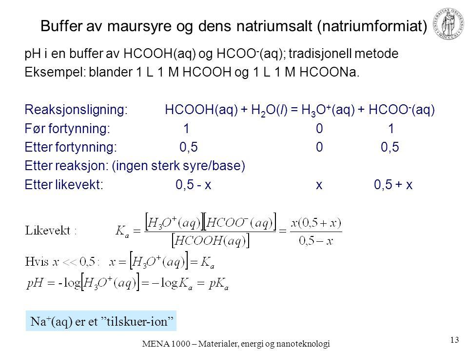 MENA 1000 – Materialer, energi og nanoteknologi Buffer av maursyre og dens natriumsalt (natriumformiat) pH i en buffer av HCOOH(aq) og HCOO - (aq); tradisjonell metode Eksempel: blander 1 L 1 M HCOOH og 1 L 1 M HCOONa.