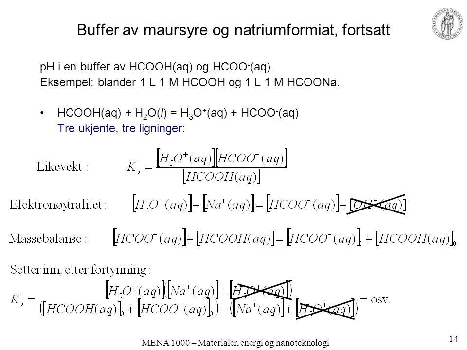 MENA 1000 – Materialer, energi og nanoteknologi Buffer av maursyre og natriumformiat, fortsatt pH i en buffer av HCOOH(aq) og HCOO - (aq).