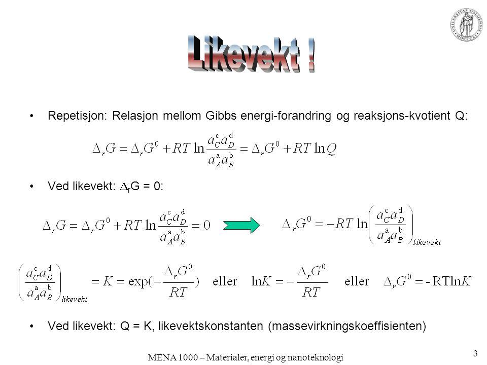 MENA 1000 – Materialer, energi og nanoteknologi Repetisjon:  r G 0 og K  r G 0 sier noe om energibalansen når Q = 1.