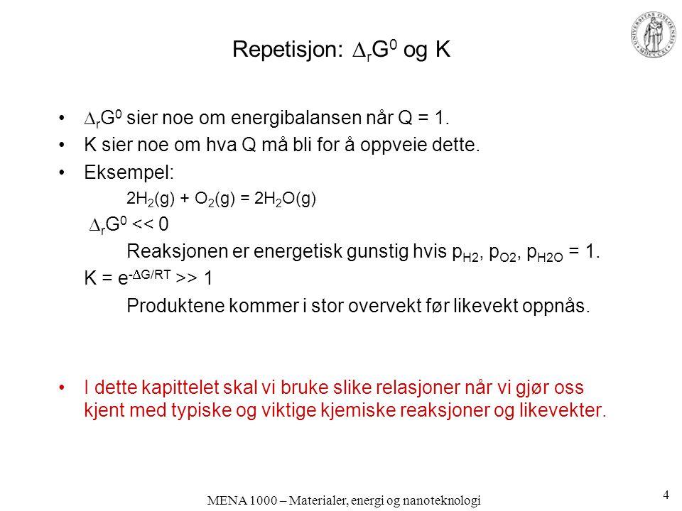 MENA 1000 – Materialer, energi og nanoteknologi Cellespenning; Nernst-ligningen Gibbs energiforandring og cellespenning: Standard Gibbs energiforandring og standard cellespenning Sammenhengen mellom de to: 35