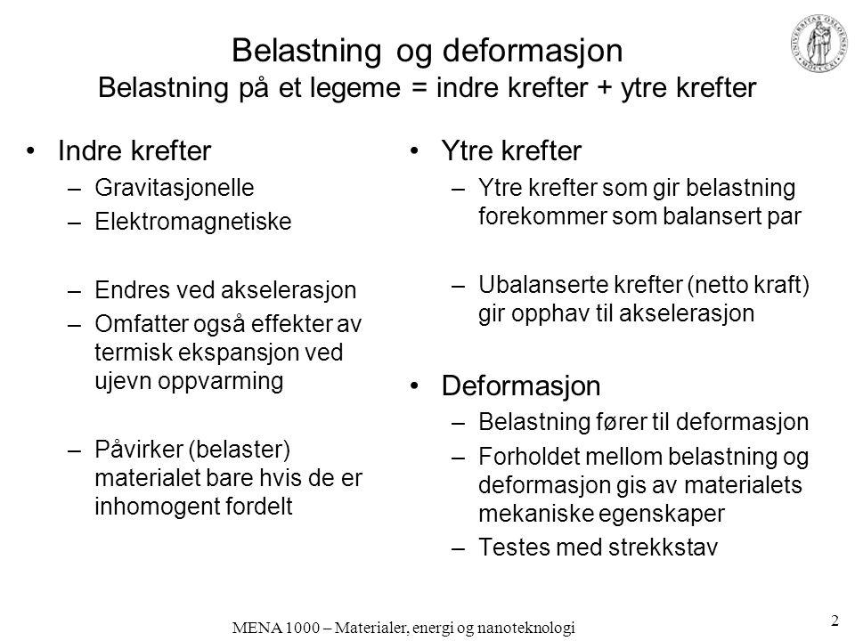 Belastning og deformasjon Belastning på et legeme = indre krefter + ytre krefter Indre krefter –Gravitasjonelle –Elektromagnetiske –Endres ved akseler