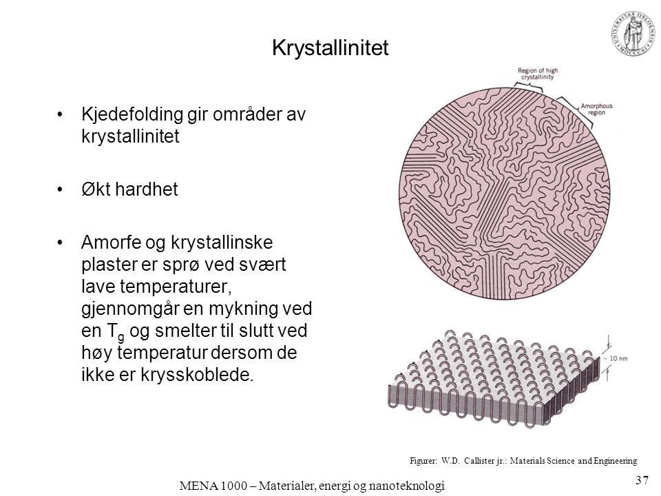 MENA 1000 – Materialer, energi og nanoteknologi Krystallinitet Kjedefolding gir områder av krystallinitet Økt hardhet Amorfe og krystallinske plaster