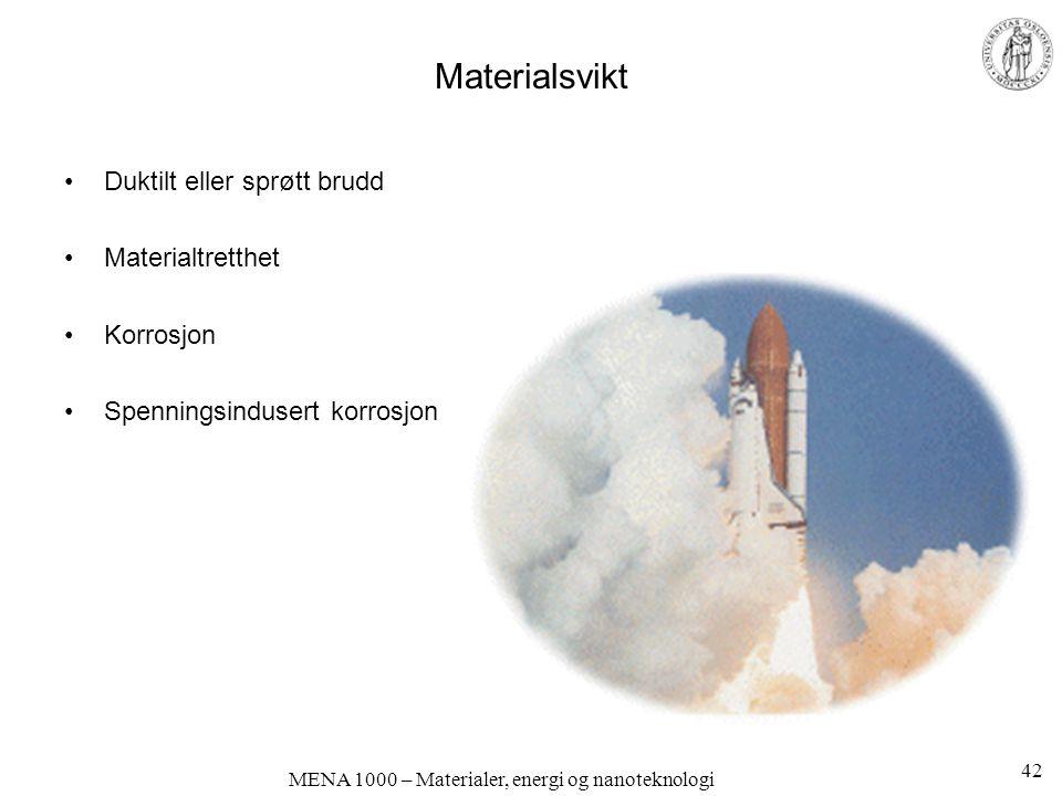 MENA 1000 – Materialer, energi og nanoteknologi Materialsvikt Duktilt eller sprøtt brudd Materialtretthet Korrosjon Spenningsindusert korrosjon 42