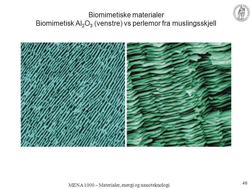 MENA 1000 – Materialer, energi og nanoteknologi Biomimetiske materialer Biomimetisk Al 2 O 3 (venstre) vs perlemor fra muslingsskjell 46
