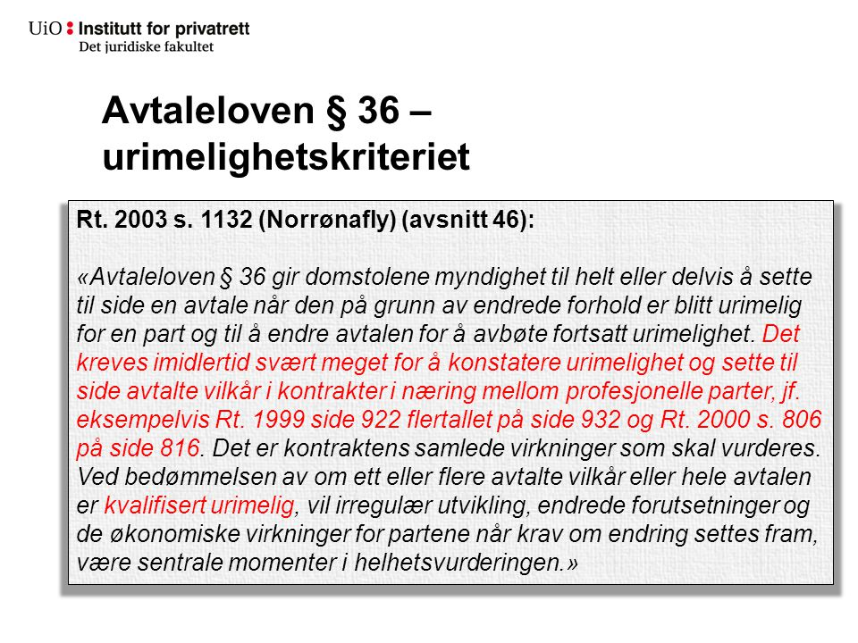 Avtaleloven § 36 – urimelighetskriteriet Rt.2003 s.