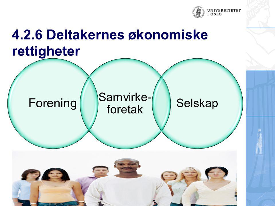 4.2.6 Deltakernes økonomiske rettigheter Forening Samvirke- foretak Selskap
