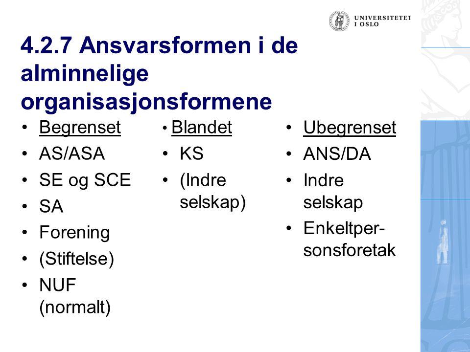 4.2.7 Ansvarsformen i de alminnelige organisasjonsformene Ubegrenset ANS/DA Indre selskap Enkeltper- sonsforetak Begrenset AS/ASA SE og SCE SA Forening (Stiftelse) NUF (normalt) Blandet KS (Indre selskap)