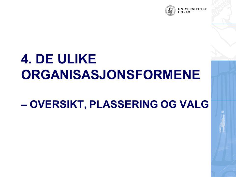 4. DE ULIKE ORGANISASJONSFORMENE – OVERSIKT, PLASSERING OG VALG