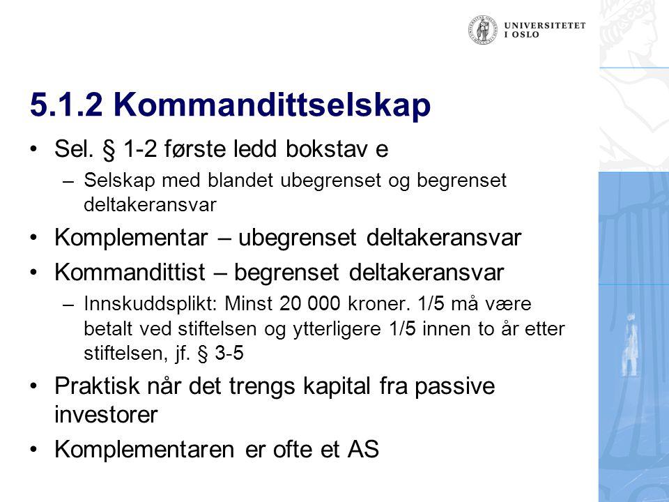 5.1.2 Kommandittselskap Sel.