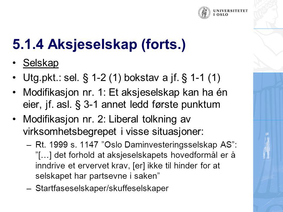 5.1.4 Aksjeselskap (forts.) Selskap Utg.pkt.: sel.