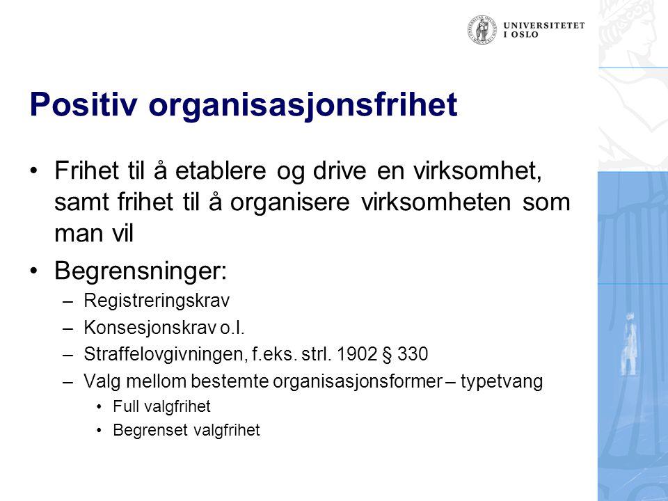 Negativ organisasjonsfrihet Frihet til ikke å delta i en virksomhet Liten praktisk betydning, men det kan f.eks.