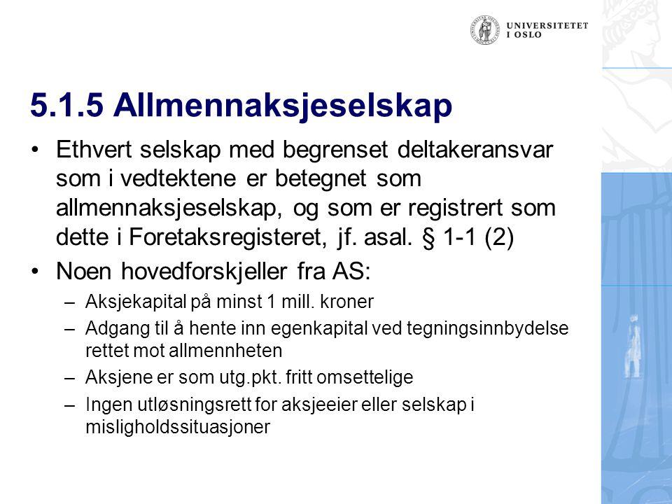 5.1.5 Allmennaksjeselskap Ethvert selskap med begrenset deltakeransvar som i vedtektene er betegnet som allmennaksjeselskap, og som er registrert som dette i Foretaksregisteret, jf.
