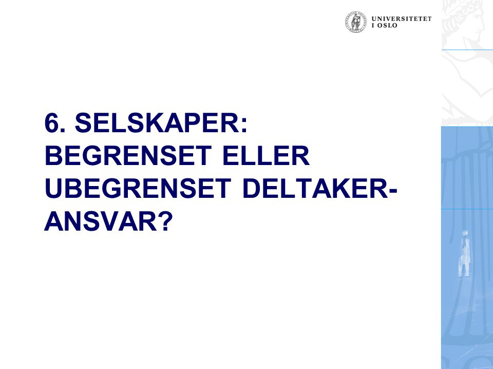 6. SELSKAPER: BEGRENSET ELLER UBEGRENSET DELTAKER- ANSVAR?