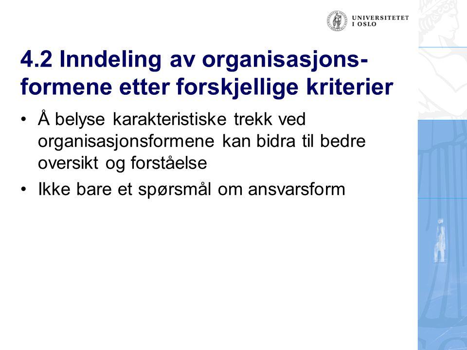 4.2 Inndeling av organisasjons- formene etter forskjellige kriterier Å belyse karakteristiske trekk ved organisasjonsformene kan bidra til bedre oversikt og forståelse Ikke bare et spørsmål om ansvarsform