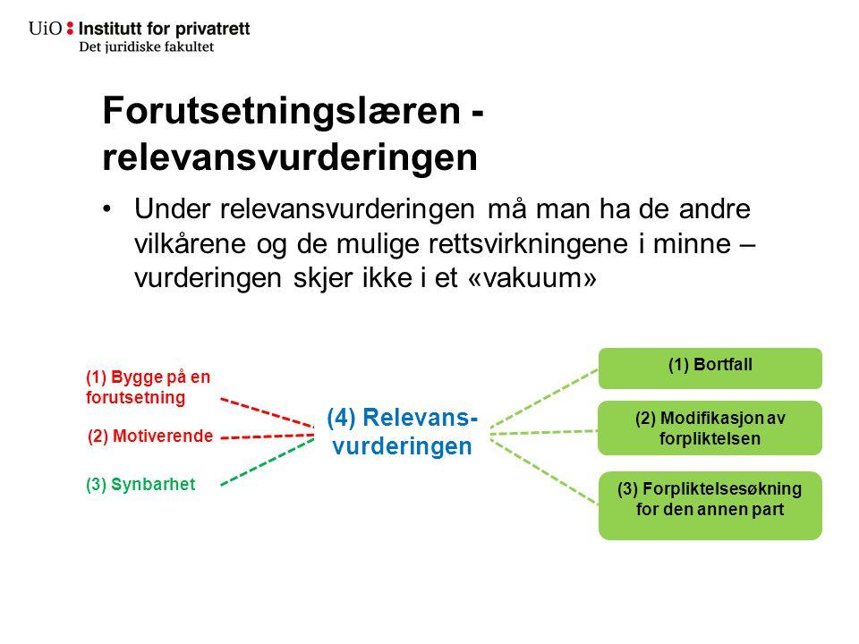 Forutsetningslæren - relevansvurderingen Under relevansvurderingen må man ha de andre vilkårene og de mulige rettsvirkningene i minne – vurderingen sk
