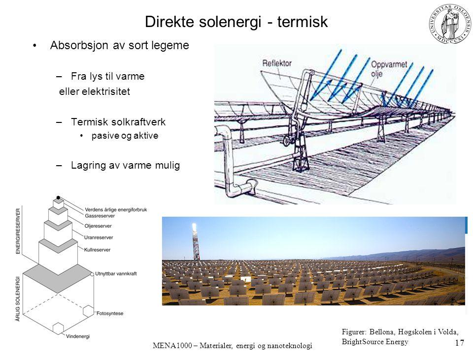 MENA1000 – Materialer, energi og nanoteknologi Direkte solenergi - termisk Absorbsjon av sort legeme –Fra lys til varme eller elektrisitet –Termisk so