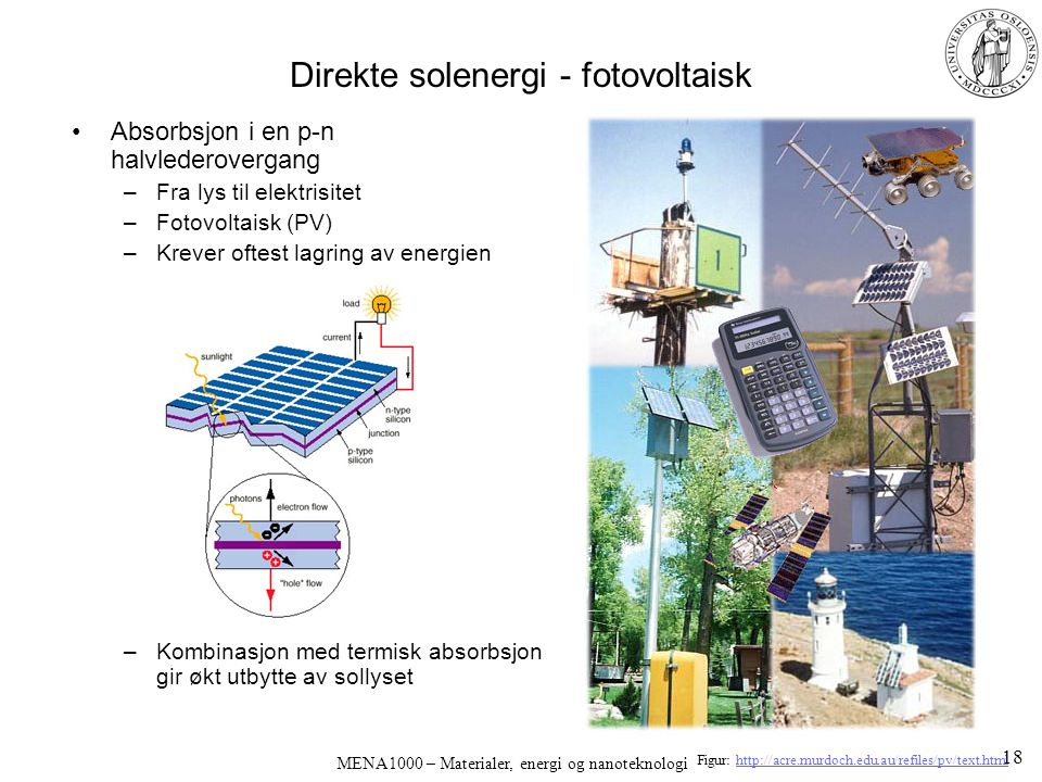 MENA1000 – Materialer, energi og nanoteknologi Direkte solenergi - fotovoltaisk Absorbsjon i en p-n halvlederovergang –Fra lys til elektrisitet –Fotov