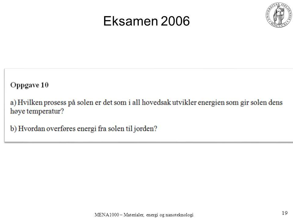 Eksamen 2006 19 MENA1000 – Materialer, energi og nanoteknologi